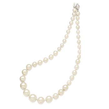 Sterling S Majestik Rh-pl 8-16mm Graduated Wht Imitat Shell Pearl Necklace