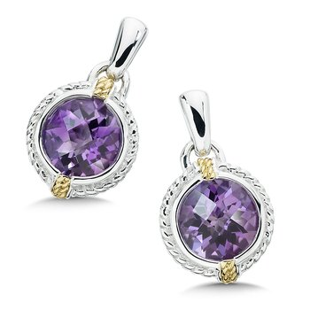 Sterling Silver, 18K Gold and Amethyst Earrings