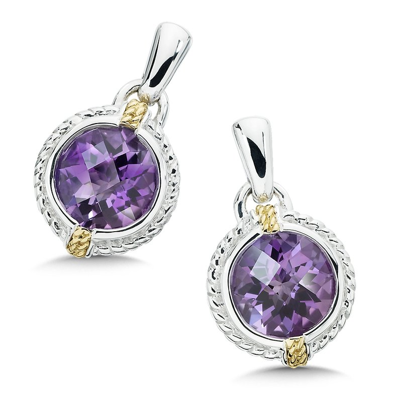 Colore Sg Sterling Silver, 18K Gold and Amethyst Earrings