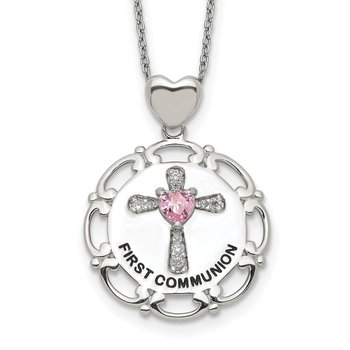 Sterling Silver Enameled Pink & Clear CZ Cross Necklace