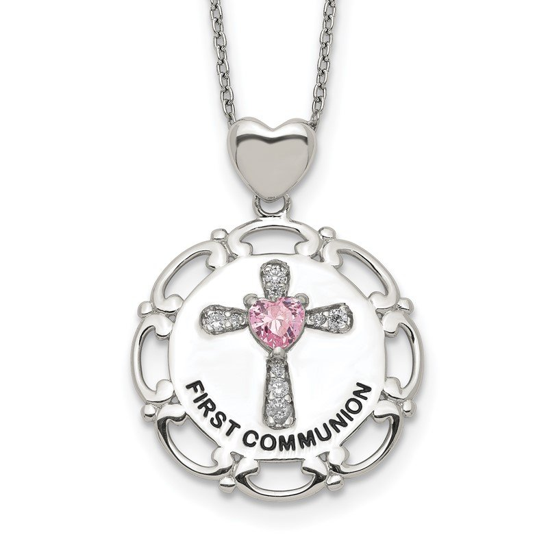 Quality Gold Sterling Silver Enameled Pink & Clear CZ Cross Necklace