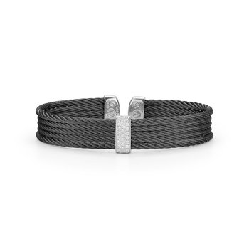 Black Cable Mini Cuff with 18kt White Gold & Diamonds