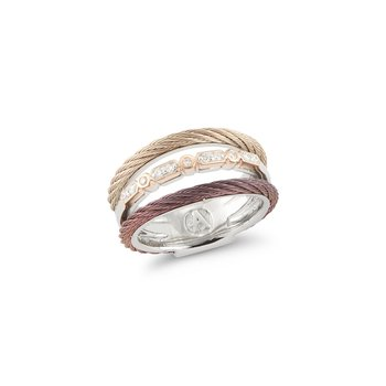 Layered Carnation & Burgundy Cable Ring with 18kt Rose Gold & Diamonds