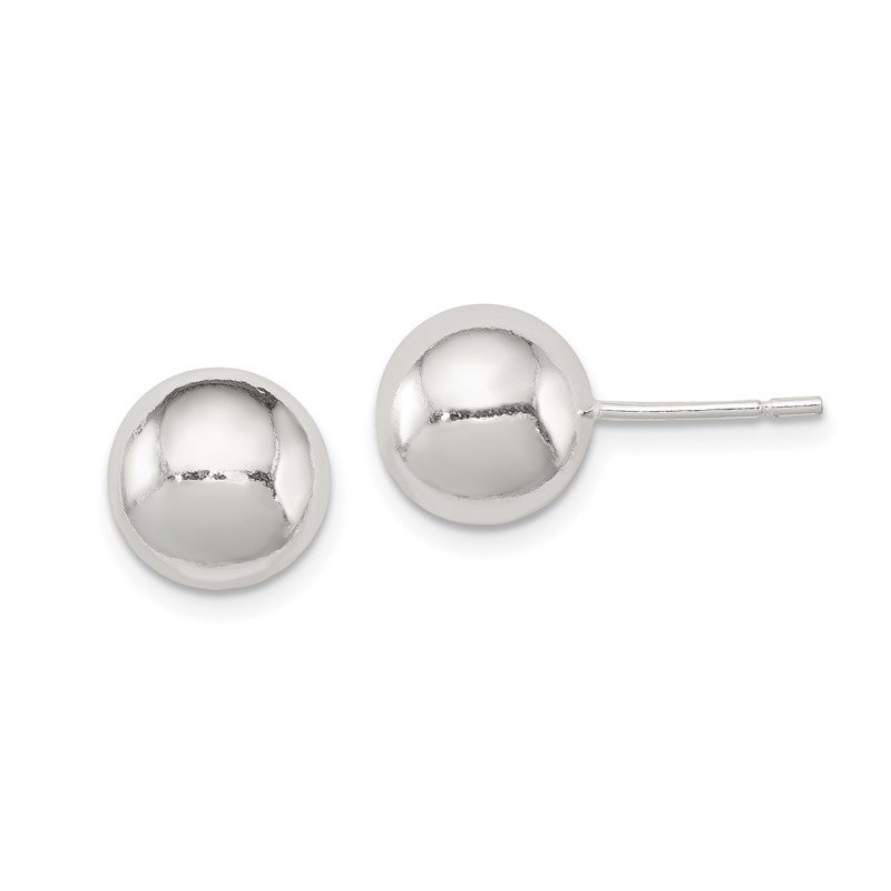 Quality Gold Sterling Silver Polished 9mm Ball Earrings