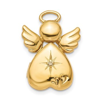 Sterling Silver Gold-plated 12mm Diamond Angel Locket