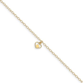 14K Polished Hearts 10in Plus 1in ext. Anklet