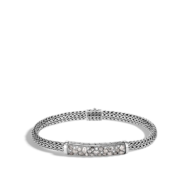 JOHN HARDY Classic Chain 5MM Station Bracelet in Silver with Diamonds