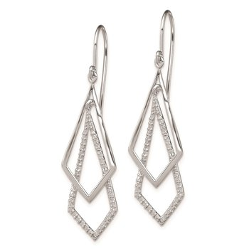 Sterling Silver Rhodium Plated Diamond Dangle Earrings