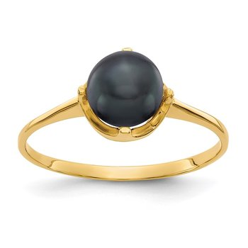 14k 6.5mm Black FW Cultured Pearl ring