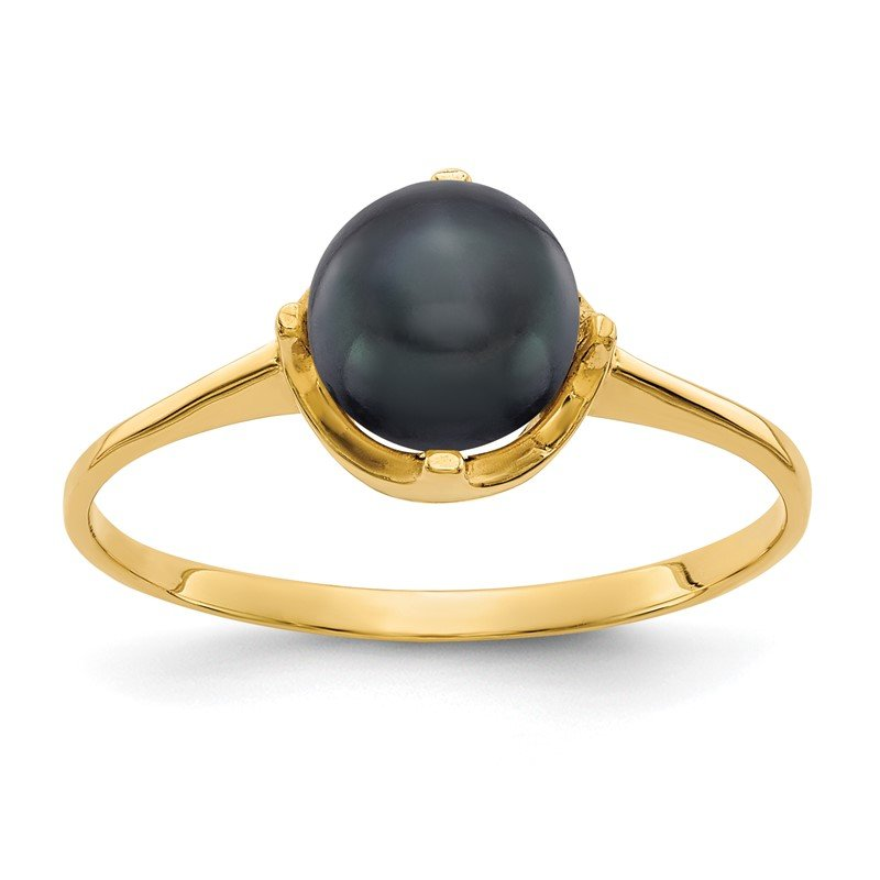 Quality Gold 14k 6.5mm Black FW Cultured Pearl ring