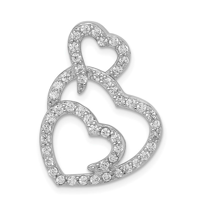 Quality Gold Sterling Silver Multi Hearts Clear CZ Slide Pendant