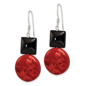 Sterling Silver Black Agate and Reconstituted Red Coral Earrings