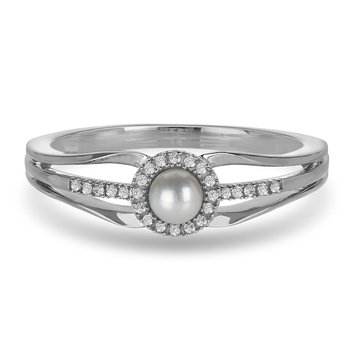 10K WG and diamond and Round Pearl halo style birthstone ring