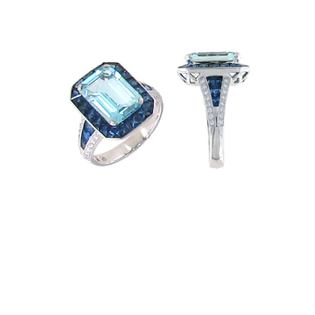 18KT GOLD RING WITH DIAMONDS, AQUAMARINE AND SAPPHIRE