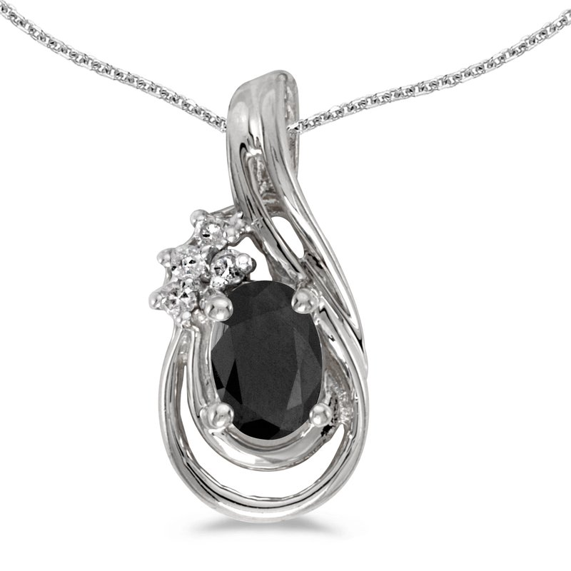 Color Merchants 14k White Gold Oval Onyx And Diamond Teardrop Pendant
