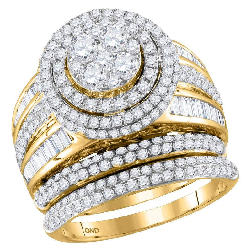 Gold-N-Diamonds, Inc. (Atlanta) 14kt Yellow Gold Womens Round Diamond Cluster Bridal Wedding Engagement Ring Band Set 2-1/2 Cttw
