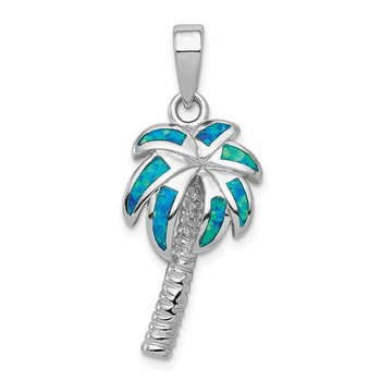 Sterling Silver Created Blue Opal Inlay Palm Tree Pendant