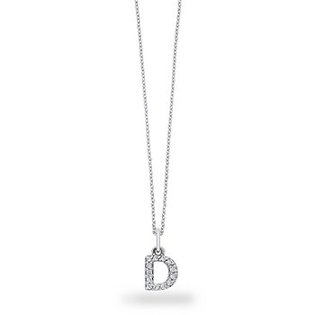 "Diamond Baby Block Initial ""D"" Necklace in 14k White Gold with 13 Diamonds weighing .11ct tw."