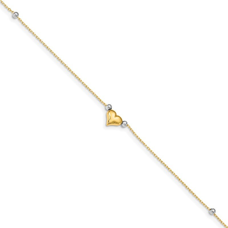 Quality Gold 14k Two-Tone Polished Puffed Heart with Beads 10in Anklet