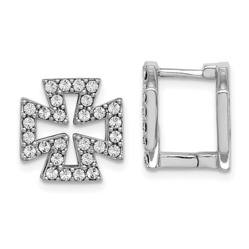 Sterling Silver RH-plated Blk Enamel Cross Crystal Hinged Earrings