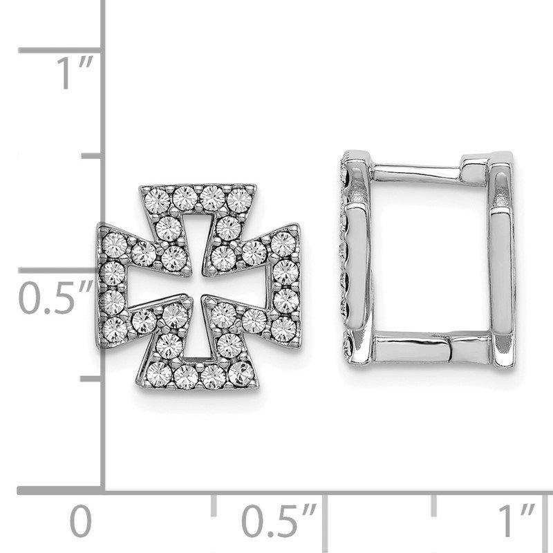 925 Sterling Silver Rh Plated S Preciosca Crystal Nov Relgious Cross Pendant