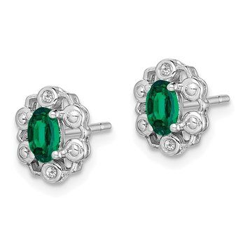 Sterling Silver Rhodium-plated Created Emerald & Diam. Earrings