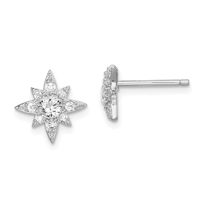 Quality Gold Sterling Silver Rhodium-plated CZ Star Post Earrings