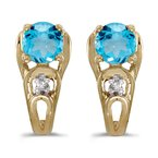 Color Merchants 14k Yellow Gold Round Blue Topaz And Diamond Earrings