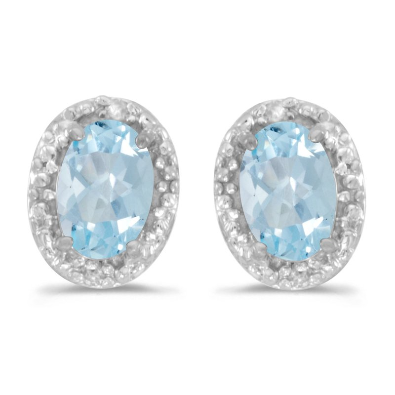 Color Merchants 10k White Gold Oval Aquamarine And Diamond Earrings