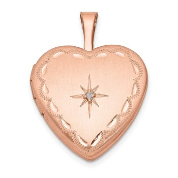 Sterling Silver Rose Gold-plated & Diamond 16mm Satin & D/C Heart Locket
