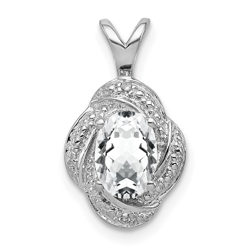Quality Gold Sterling Silver Rhodium-plated Diam. & White Topaz Pendant