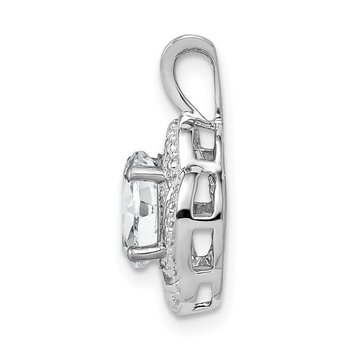 Sterling Silver Rhodium-plated Diam. & White Topaz Pendant