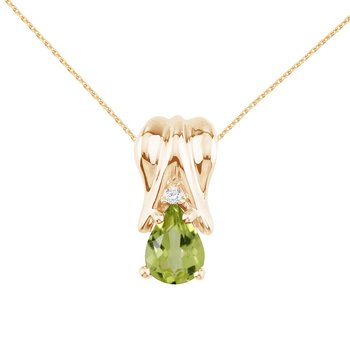 14k Yellow Gold Peridot and Diamond Pear Shaped Pendant