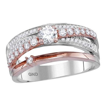 14kt Two-tone Rose Gold Womens Round Diamond Crossover Band Ring 3/4 Cttw