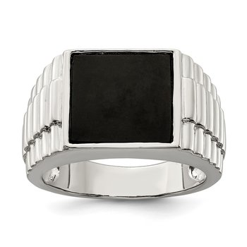 Sterling Silver Rhodium-plated Men's Onyx Ring