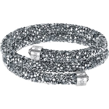 Crystaldust Double Bangle, Gray, Stainless steel