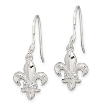 Sterling Silver CZ Fleur-de-lis Earrings