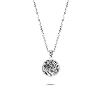Lahar Pendant Necklace in Silver with Diamonds