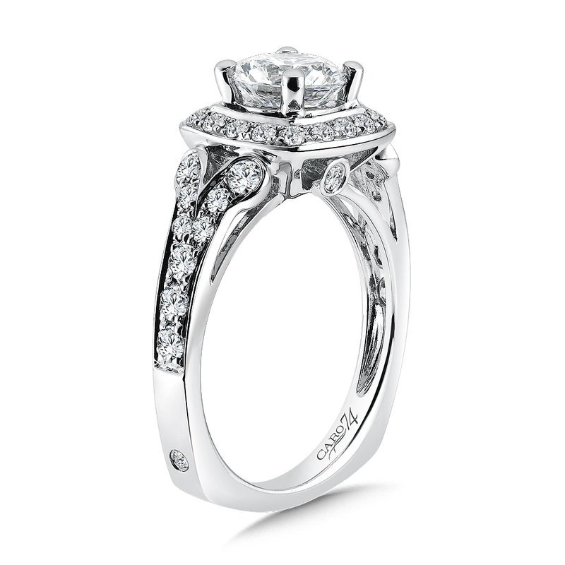 Caro74 Inspired Vintage Collection Diamond Halo Engagement Ring in 14K White Gold with Platinum Head (1-1/4ct. tw.)