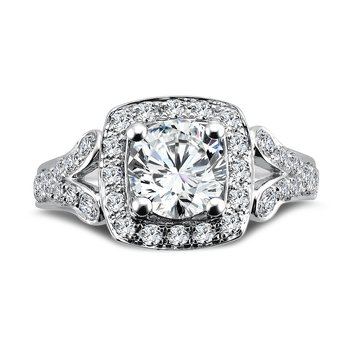 Inspired Vintage Collection Diamond Halo Engagement Ring in 14K White Gold with Platinum Head (1-1/4ct. tw.)