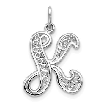 14KW White Gold Solid Polished Script Filigree Letter K Initial Pendant