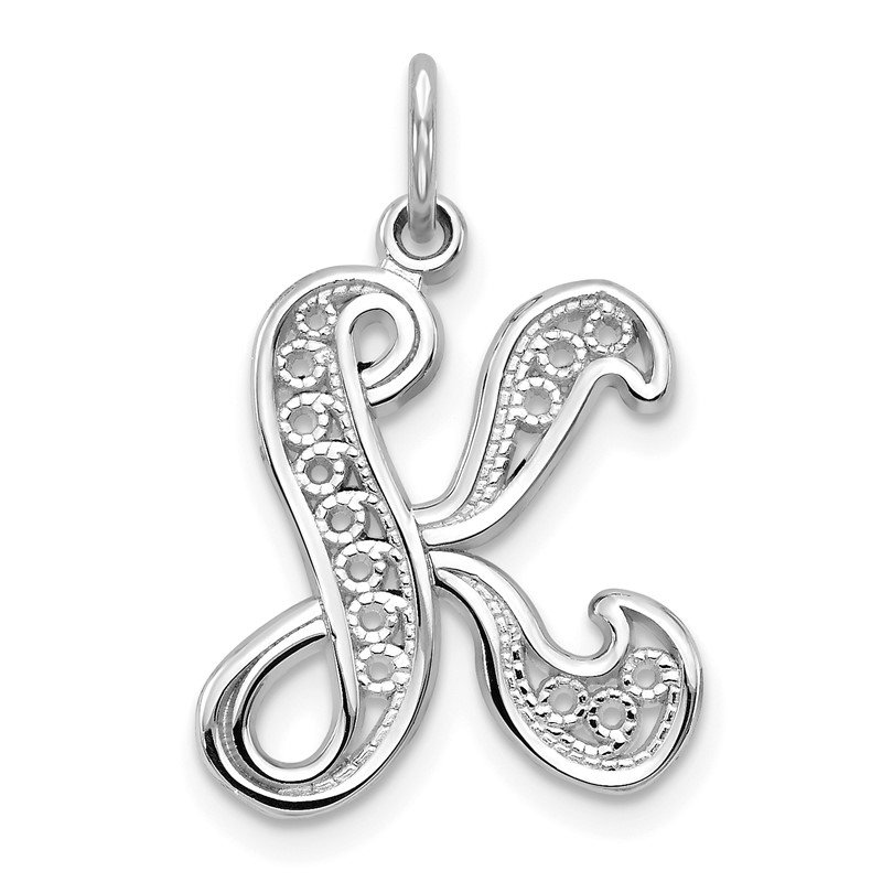 Quality Gold 14KW White Gold Solid Polished Script Filigree Letter K Initial Pendant