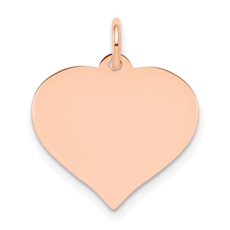 Quality Gold 14k Rose Gold Heart Disc Charm