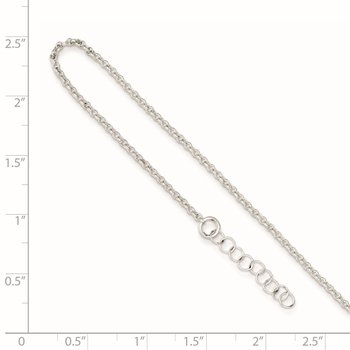 Sterling Silver Polished Rolo Chain w/ 1in ext. Anklet