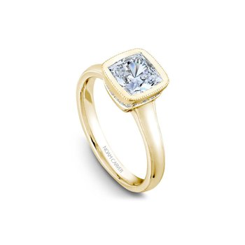 Bezel Set Princess Cut Solitaire Engagement Ring