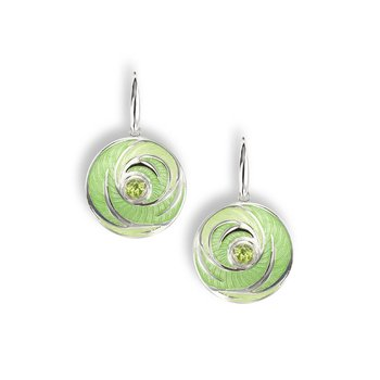 Green Round Wire Earrings.Sterling Silver-Peridot