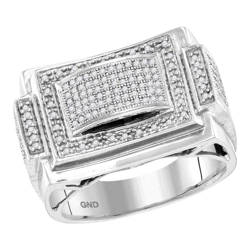 Gold-N-Diamonds, Inc. (Atlanta) 10kt White Gold Mens Round Diamond Domed Rectangle Frame Cluster Ring 1/2 Cttw