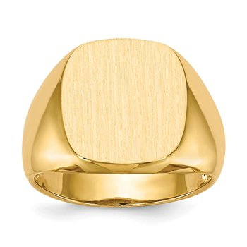 14k 13.0x12.0mm Closed Back Men's Signet Ring