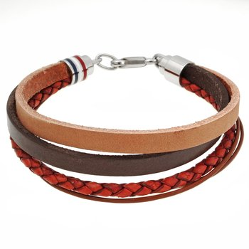Multi-Color Genuine Leather Bracelet - 16 MM Width, 8.75 Inches Length - Lobster Closure