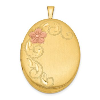 Sterling Silver Gold Plated 26mm Satin Enameled Floral Locket